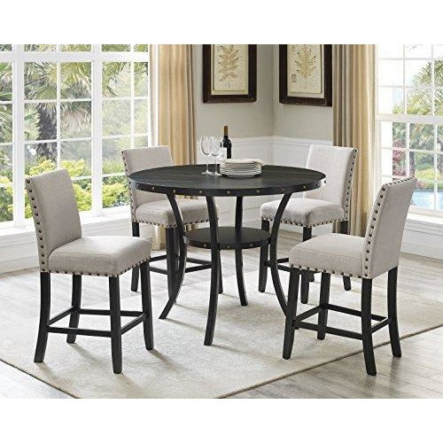 Biony Dining Collection Espresso Wood Counter Height Set Fabric Nailhead Stools- Online Furniture Store