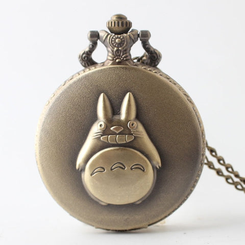 Anime Animated Totoro Pocket Watch Chains Necklace Retro Quartz Pocket Watches Steampunk Pendant For Kids Gifts Relogio warcraft