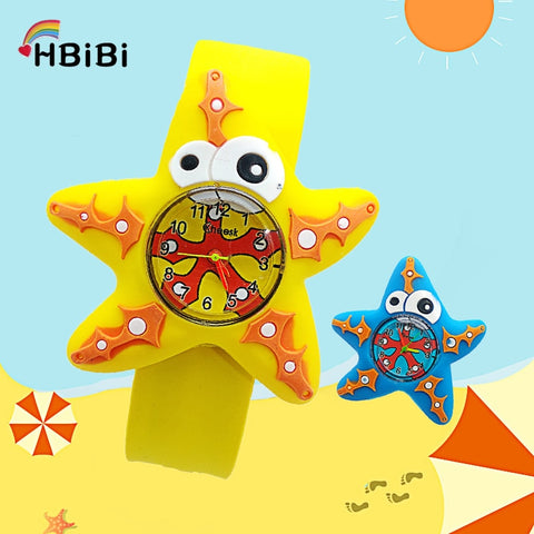 Ocean starfish Kids Watches 3D five-pointed Anime pattern Baby Toy watch Children watch kid Girls Boys clock Quartz Wristwatches