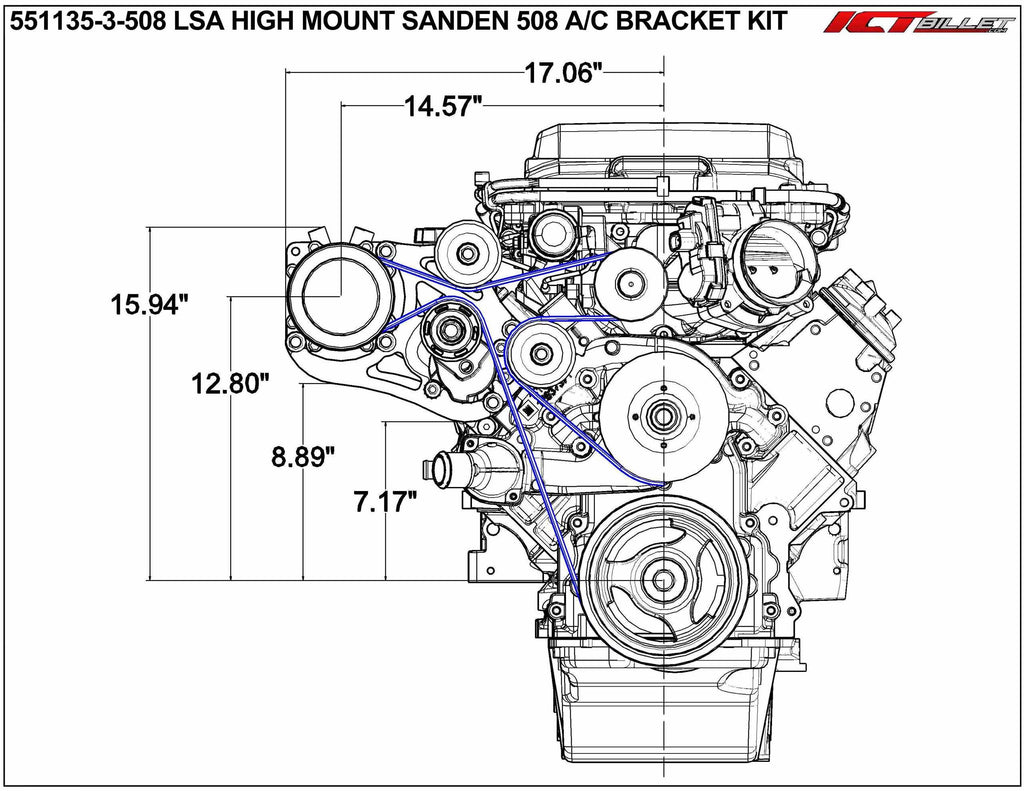 ICT Billet LSA Supercharger High Mount A/C Sanden 508 709 Compressor Bracket Kit CTS-V ZL1