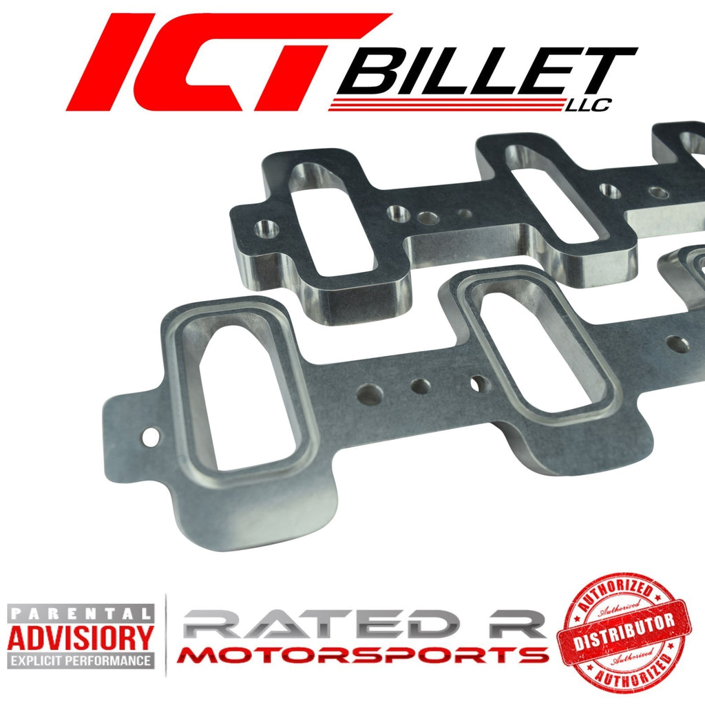 ICT Billet LS Rectangle Port Cylinder Head to Cathedral Port Intake Manifold Adapters