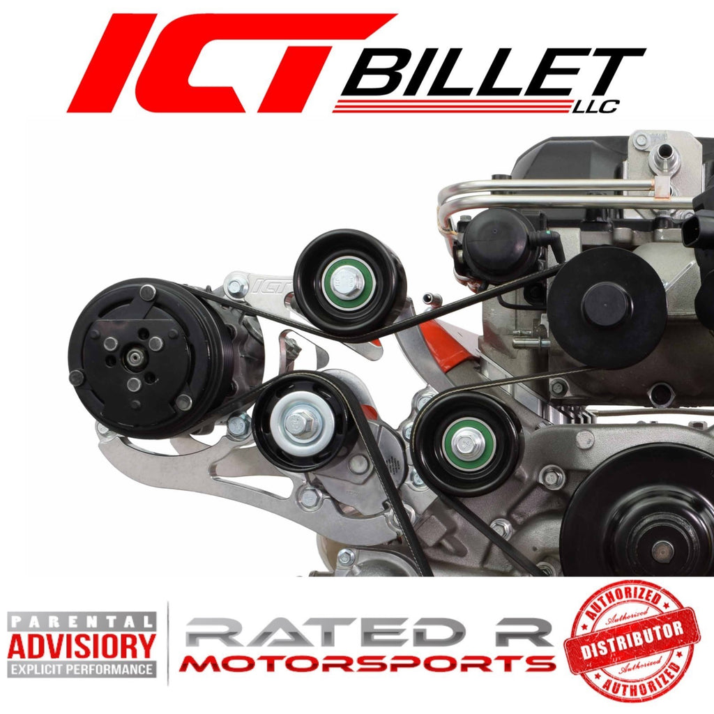 ICT Billet LSA Supercharger High Mount A/C Sanden 7176 Compressor Bracket Kit