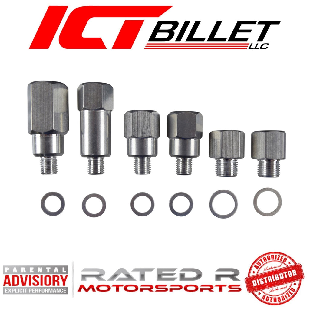 ICT Billet LS Master Adapter Set Engine Oil & Coolant Sensor Gauge 1/8 3/8 1/2 NPT
