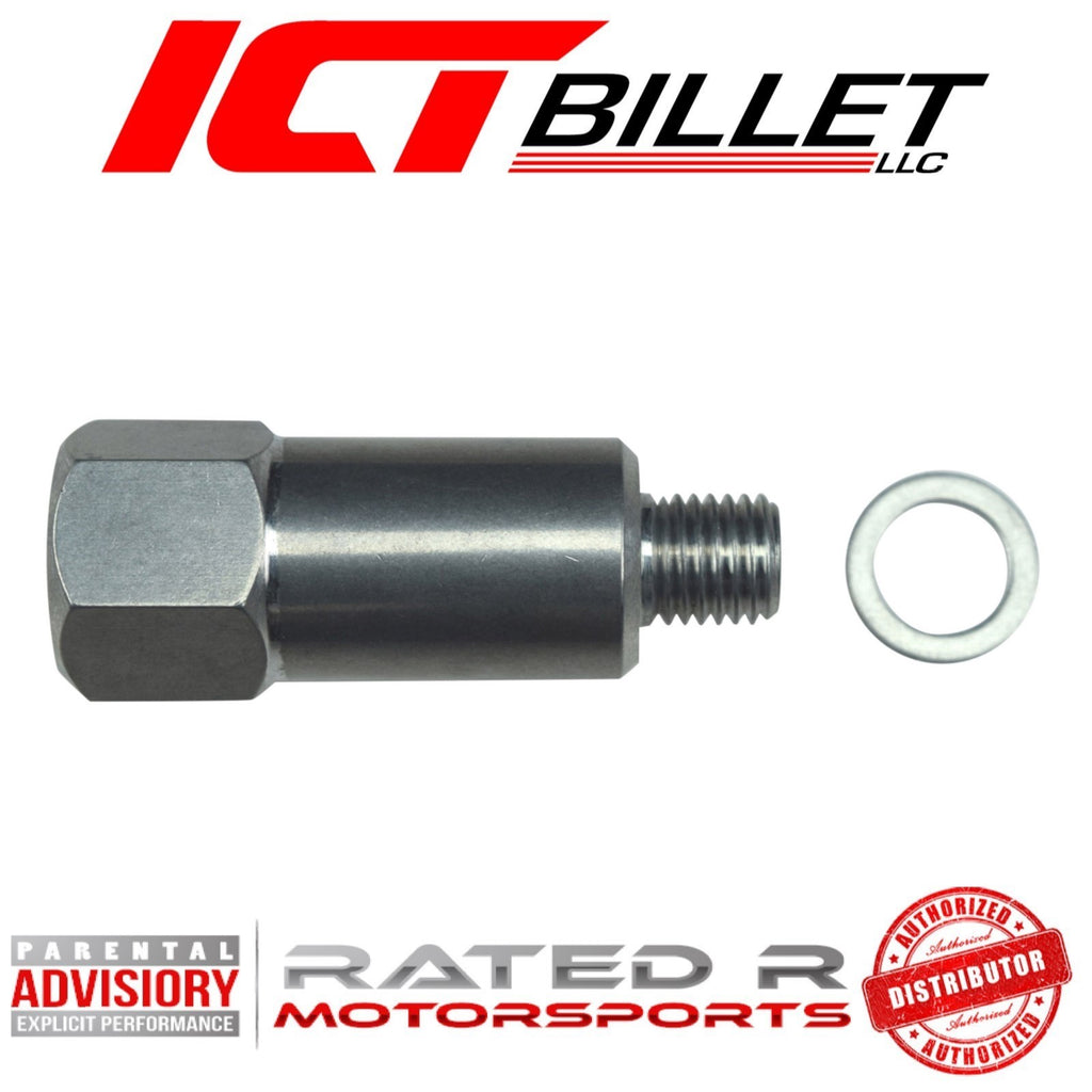 "ICT Billet Extended Length Water Temperature Sensor Sending Unit Adapter M12-1.5 to Female 3/8"" NPT"