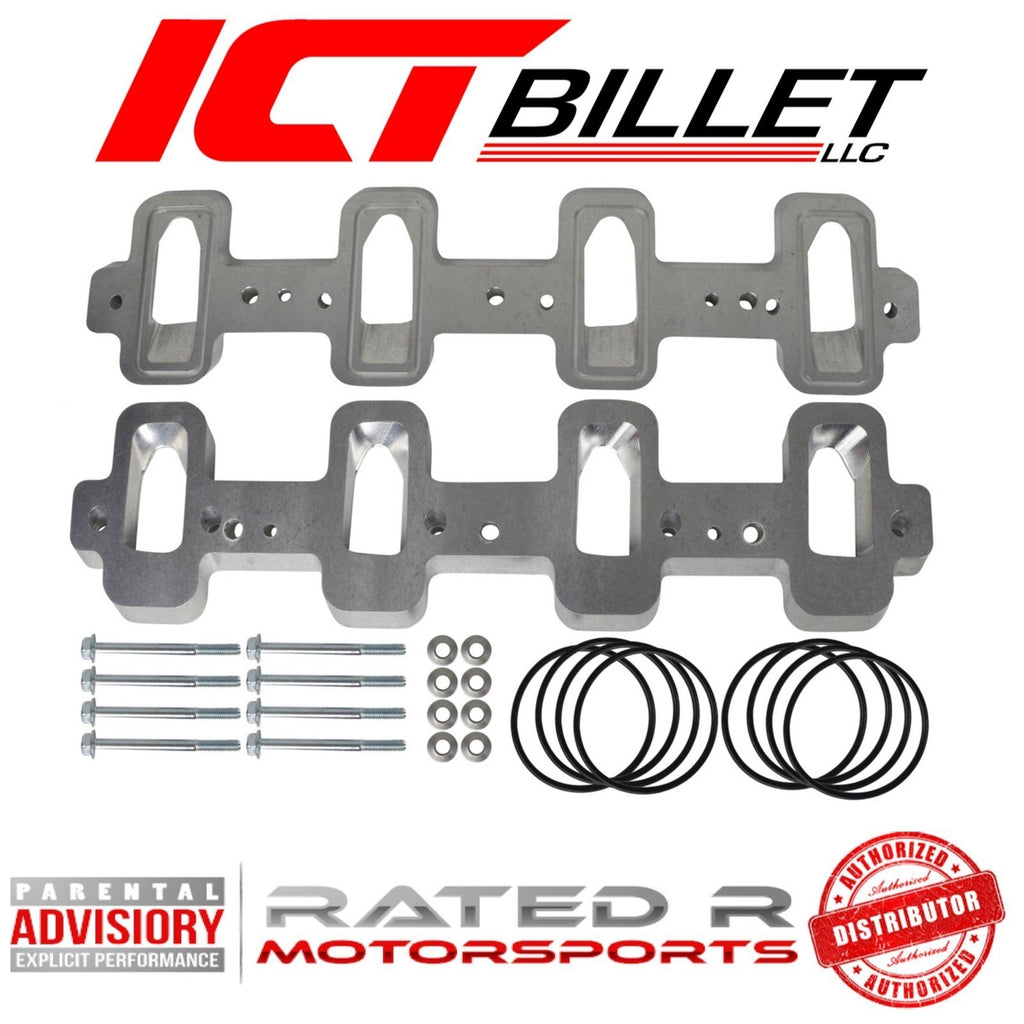 ICT Billet LS Cathedral Port Cylinder Head to Rectangle Port Intake Manifold Adapters