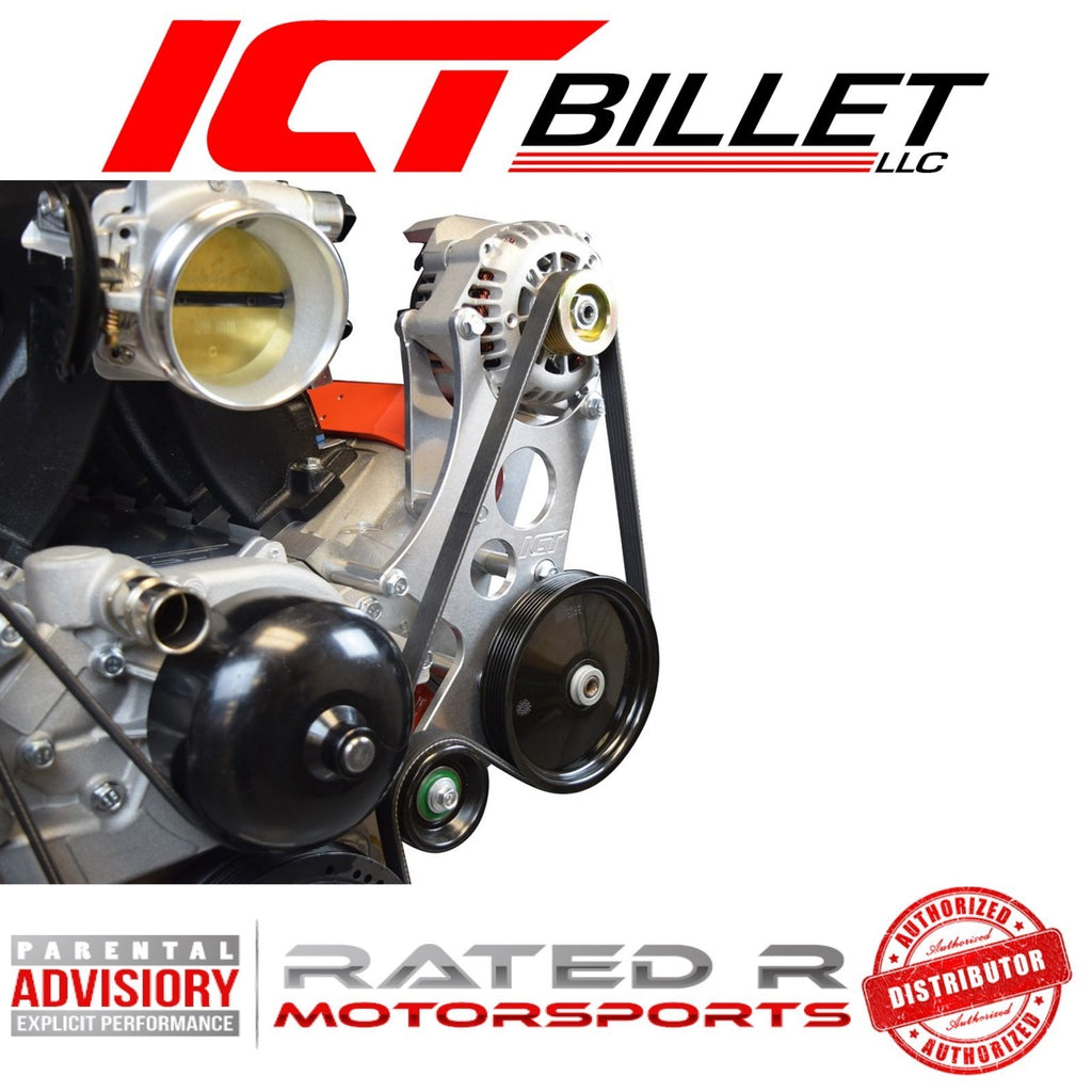 ICT Billet LS Corvette Spacing High Mount Alternator & Power Steering Pump Bracket Kit