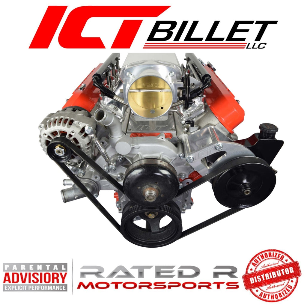 ICT Billet LS Truck Spacing Alternator & Power Steering Pump Relocation Bracket Kit With Turnbuckle