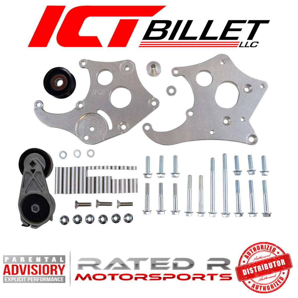 ICT Billet LS Corvette Spacing Sanden 508 A/C Air Conditioner Compressor Bracket Kit
