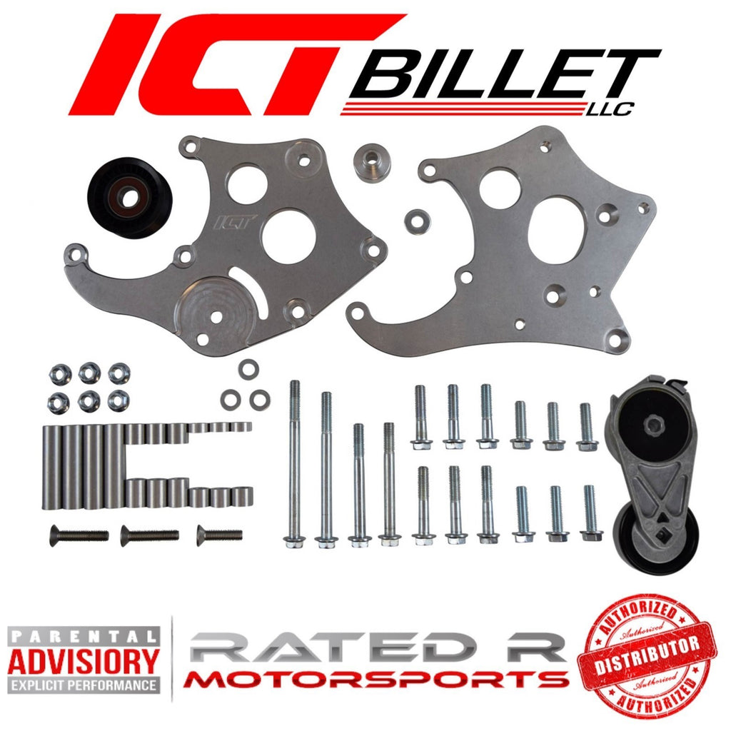 ICT Billet LS F Body Spacing LS1 HD Sanden 508 A/C Air Conditioner Compressor Bracket Kit