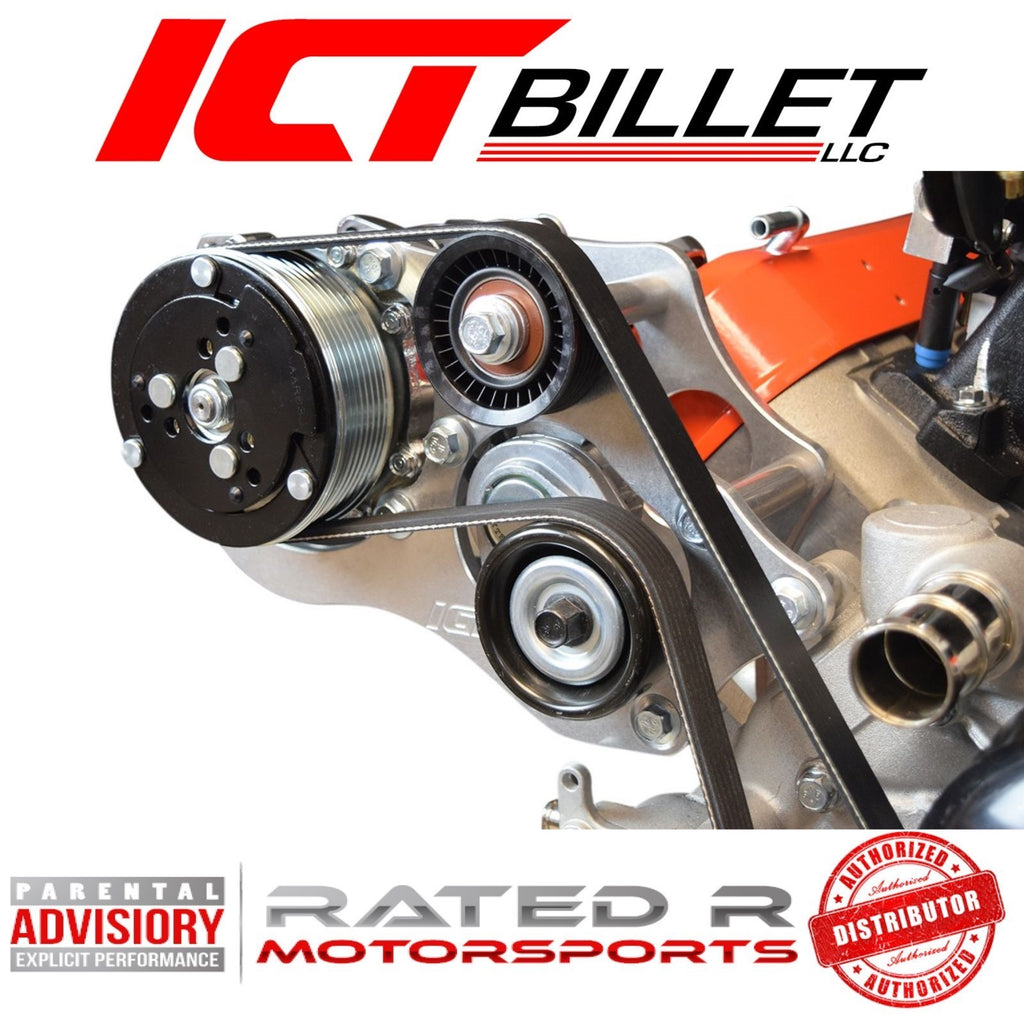 ICT Billet LS Corvette Spacing Sanden 508 LS1 Corvette A/C Air Conditioner Compressor Bracket Kit