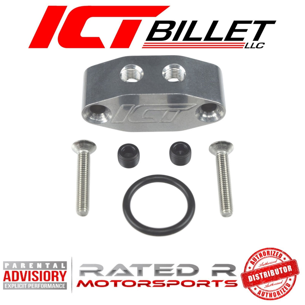 ICT Billet Oil Pan 1/8 Dual Outlet Oil Feed Adapter Plate 90 degree