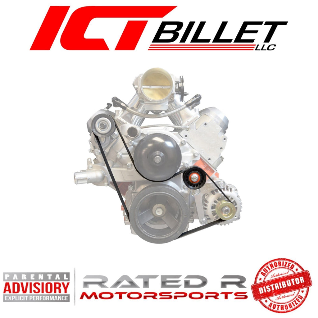 ICT Billet LS Truck Spacing BELT & PULLEY Set Alternator Only (LS Power Steering Delete Setup)