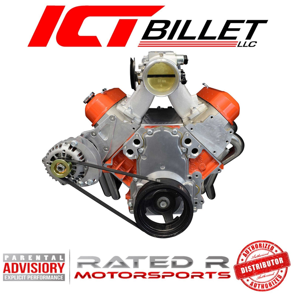 ICT Billet LS Remote Mount Water Pump Adapters With -12AN Fittings