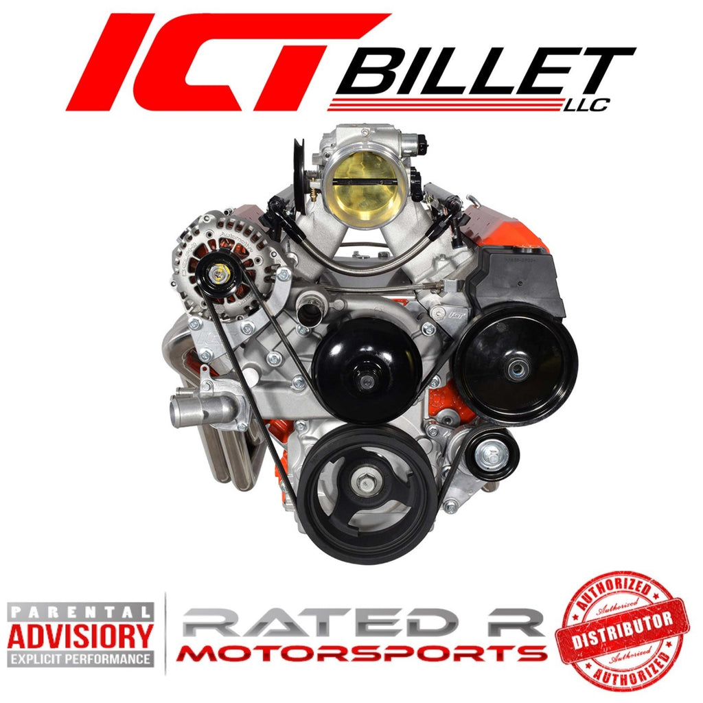 ICT Billet LS Truck Spacing Turbo Alternator & Power Steering Pump Brackets For LS1 or LS3 WP