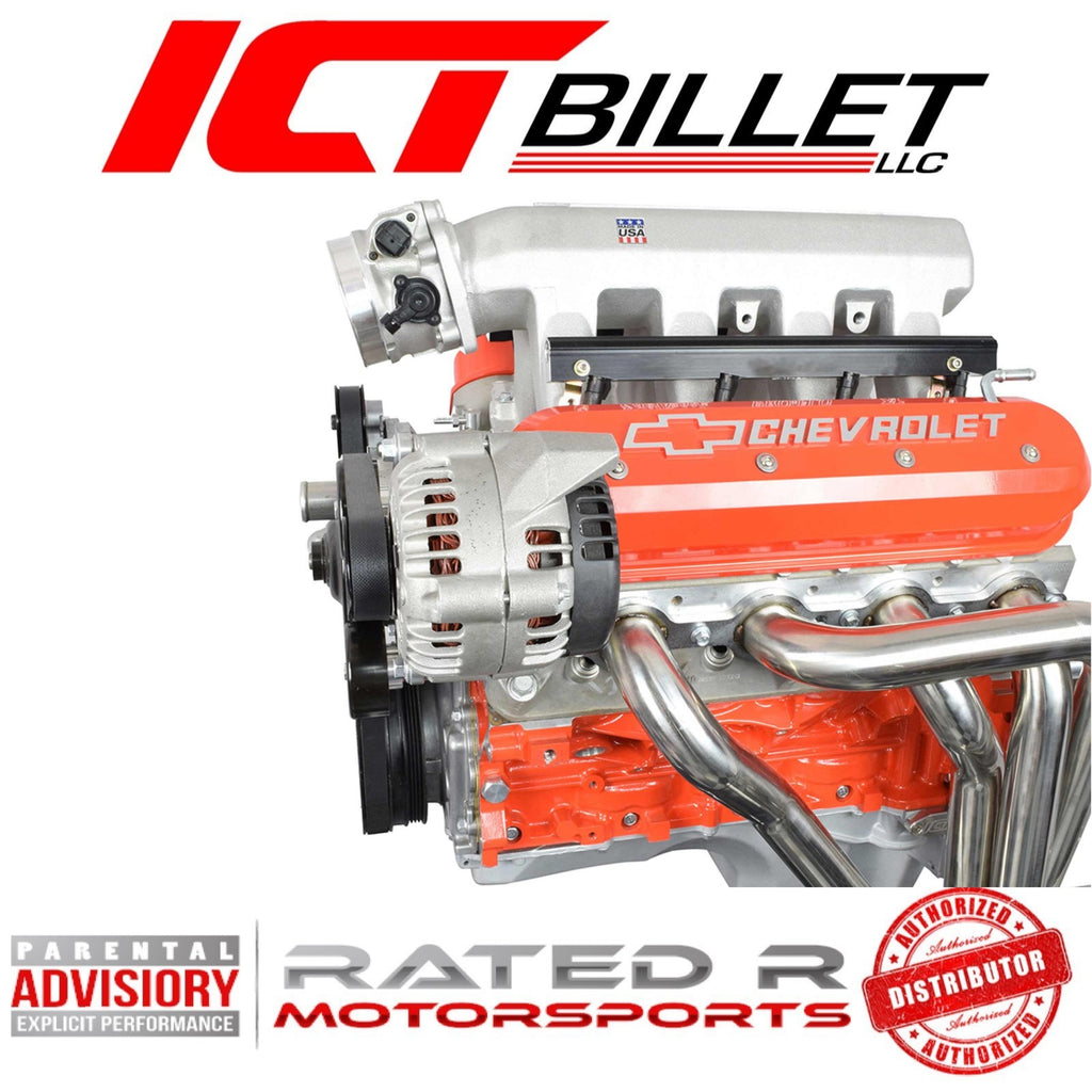 ICT Billet LS Corvette Spacing Heavy Duty Billet Alternator Bracket Kit Top Driver Head Mount