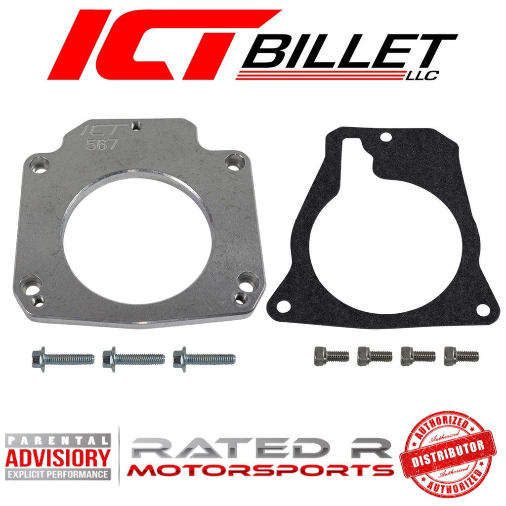 ICT Billet LS Drive By Wire Throttle Body Adapter LS3 4 Bolt Intake to LS1 3 Bolt Throttle Body