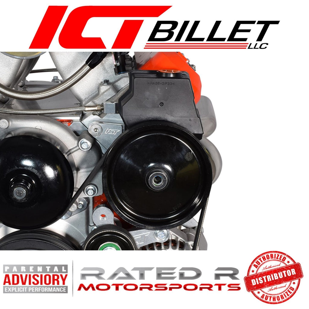 ICT Billet LS F Body Spacing LS1 Turbo Power Steering Pump Bracket Kit For LS1 Pump & Turbo Headers