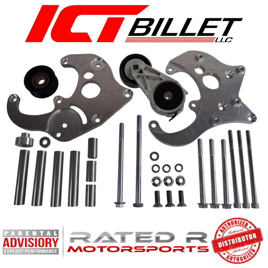 ICT Billet LS Truck Spacing R4 A/C Air Conditioner Compressor Bracket Kit