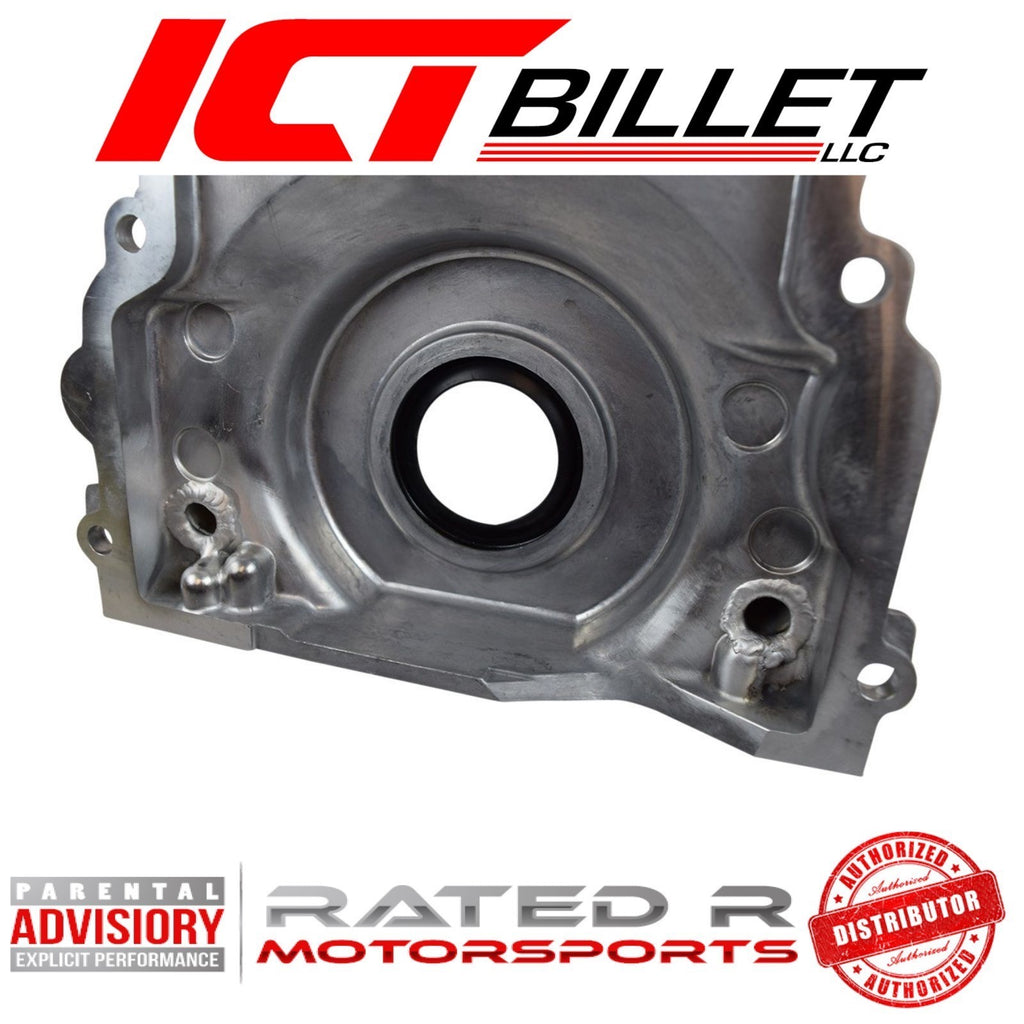 ICT Billet LS Gen 3 Front Timing Chain Cover Turbo Oil Drain Return -10AN