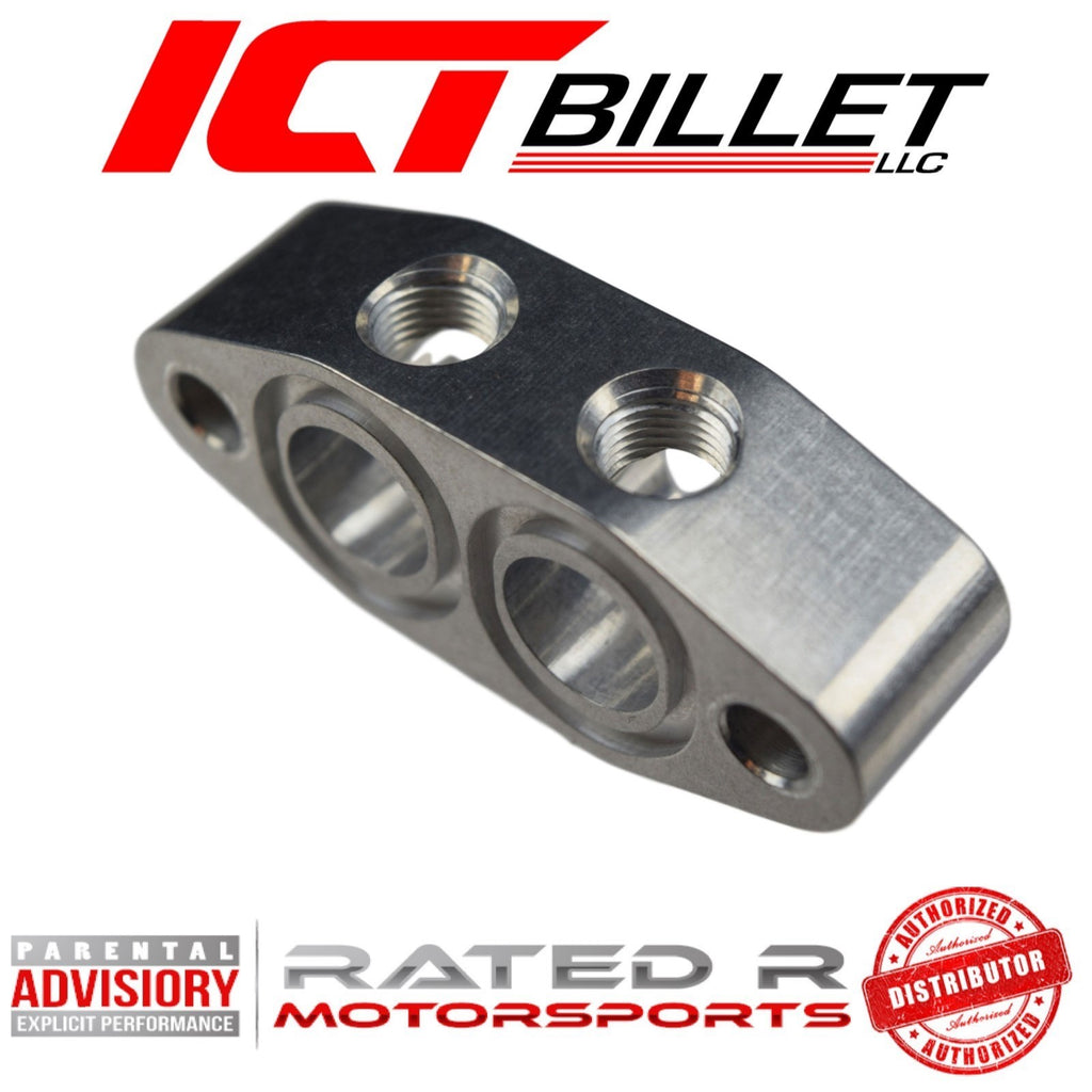 ICT Billet LS Turbo Oil Cooler Spacer Feed Line Adapter For LS3  L99 Camaro