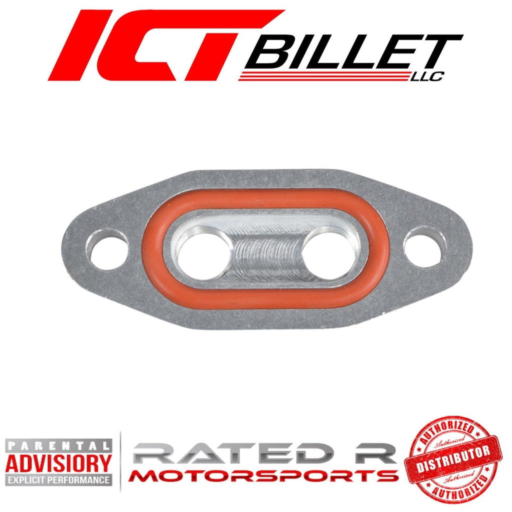 "ICT Billet Oil Pan Dual 1/8"" NPT Dual Oil Feed Plate"