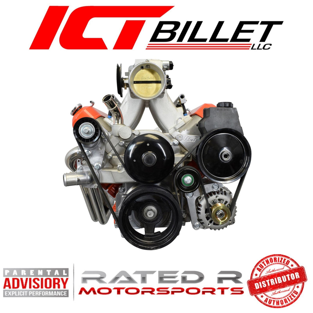 ICT Billet LS Truck Spacing Low Mount Alternator Power Steering Pump Bracket