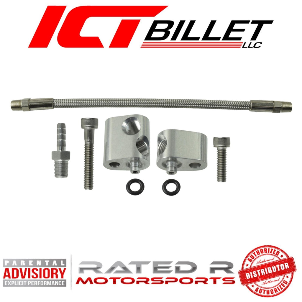 ICT Billet LS Cylinder Head Coolant Steam Port Crossover Throttle Body Bypass Hose Kit