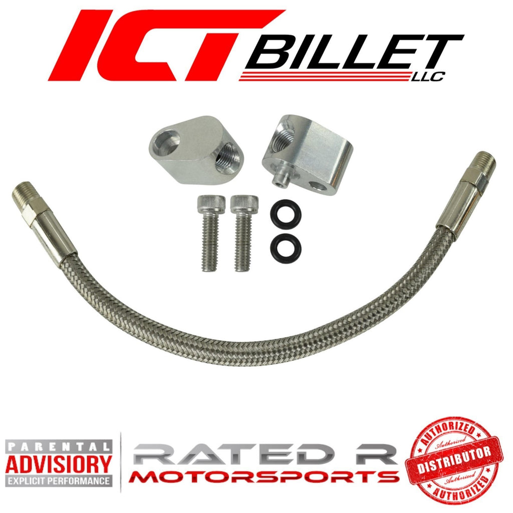 ICT Billet LS Throttle Body Coolant Steam Port Crossover Bypass Hose Kit