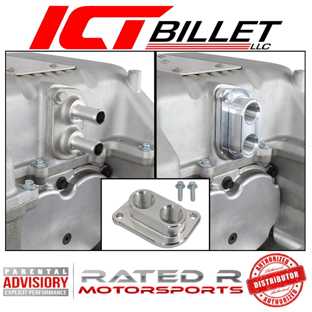 ICT Billet CTS-V LSA Supercharger 10AN ORB Intercooler Fitting Water Manifold Adapter