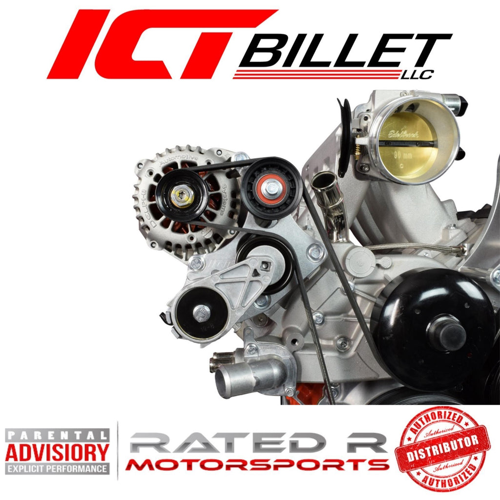 ICT Billet LS Truck Spacing S10 LS Swap Alternator Bracket With Idler Pulley