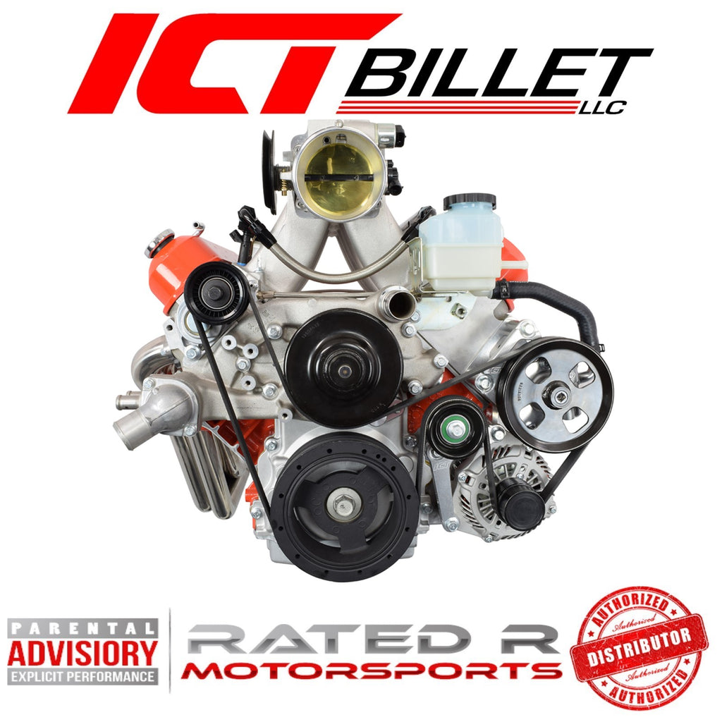 ICT Billet LS Corvette Spacing Power Steering Bracket Kit For GTO G8 Reservoir Location
