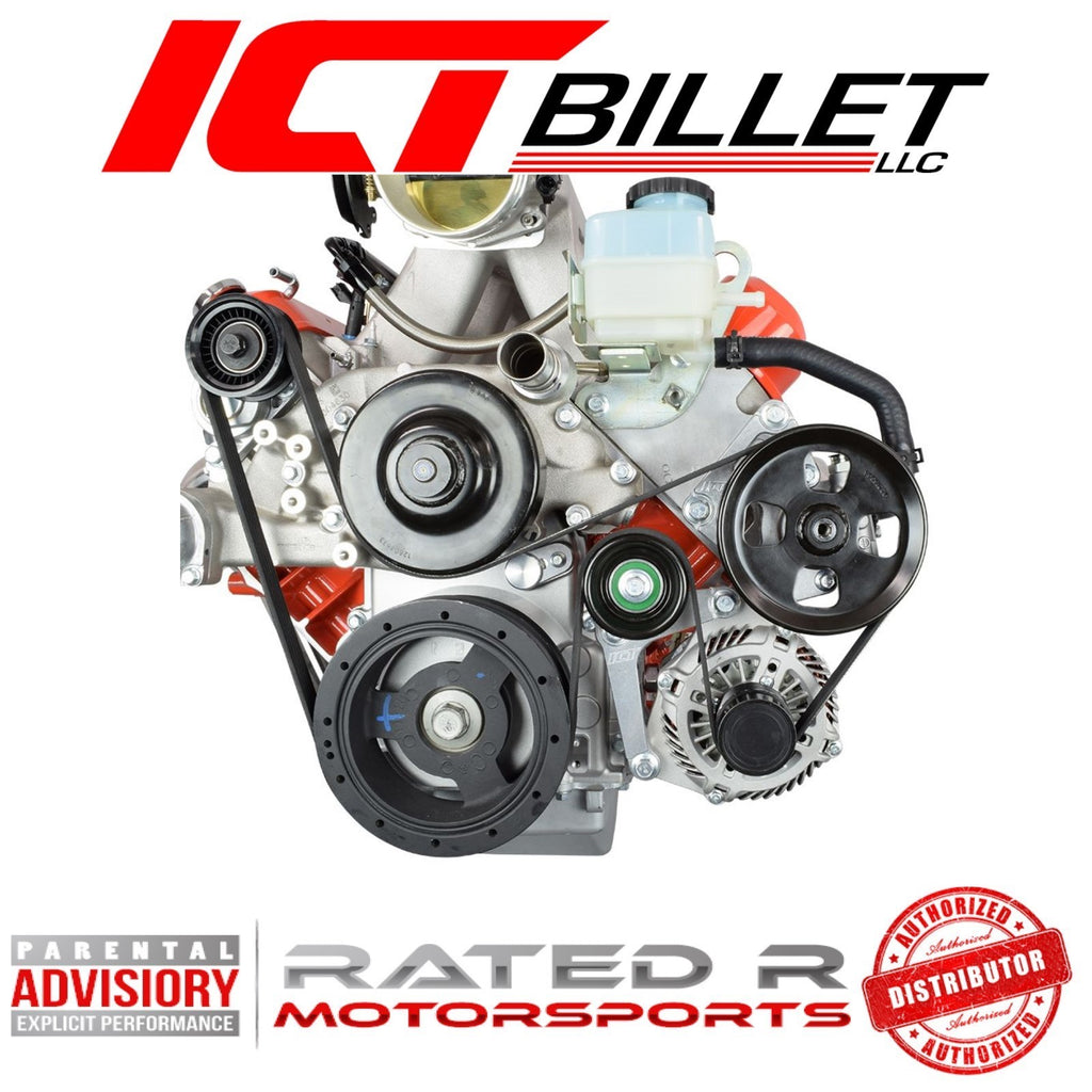 ICT Billet LS Corvette Spacing Alternator Bracket Complete With Idler Pulley