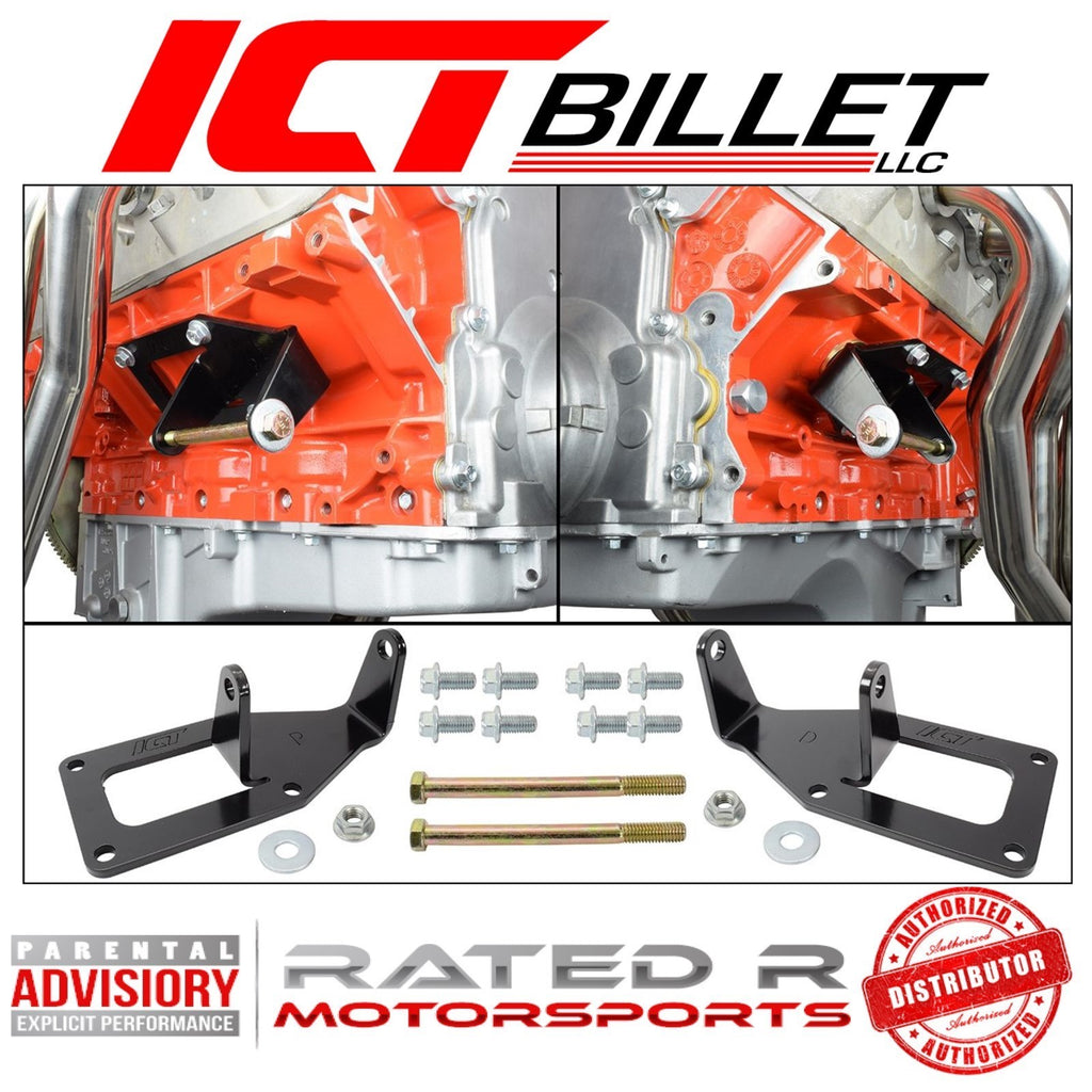 ICT Billet 1975-1987 SBC to LS Swap Engine Mount Steel Clamshell Brackets