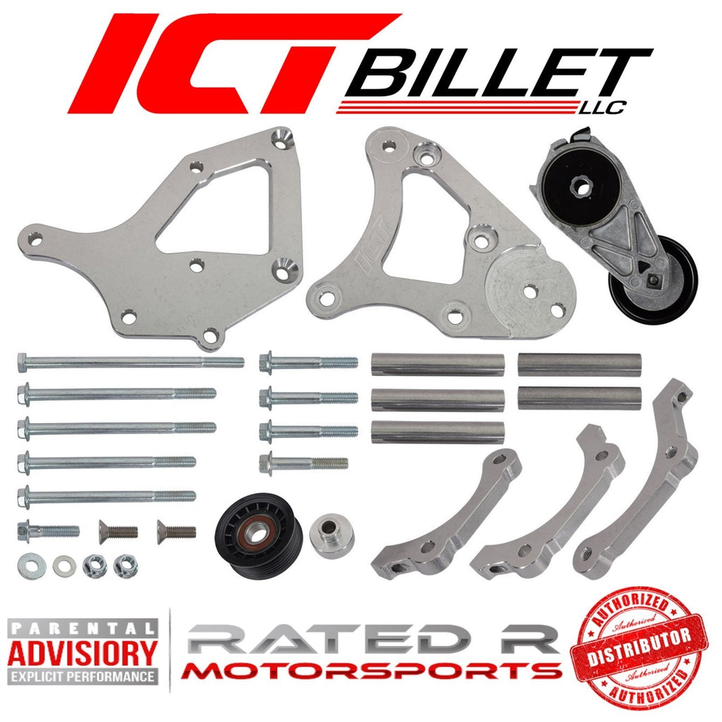 ICT Billet LS Truck Spacing Denso 10 A/C Compressor Relocation Bracket Kit