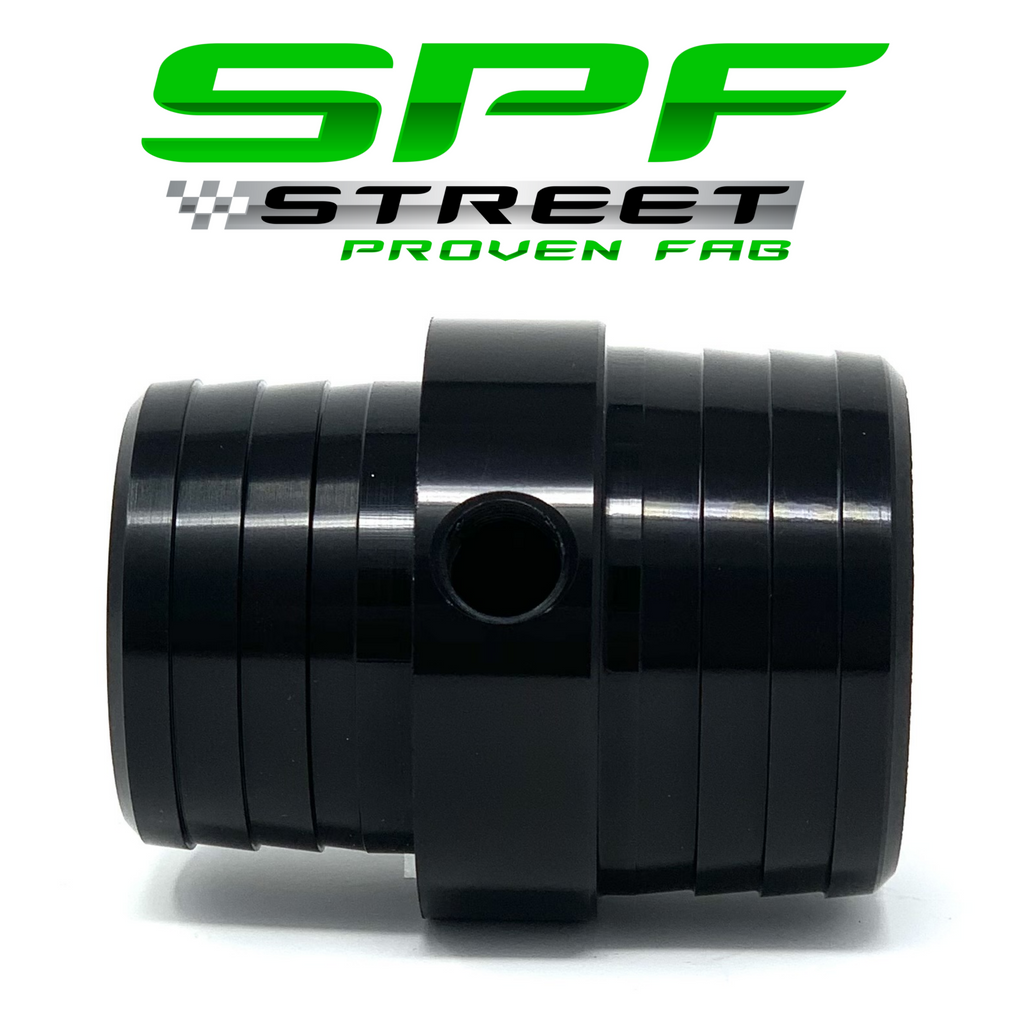 "Street Proven Fab Radiator Hose Adapter 1 1/2"" to 1 3/4"" With 1/8"" NPT Port BLACK"