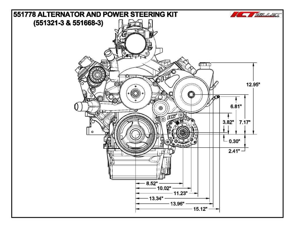 ICT Billet LS Truck Spacing Saginaw Power Steering Pump & Alternator Bracket Kit