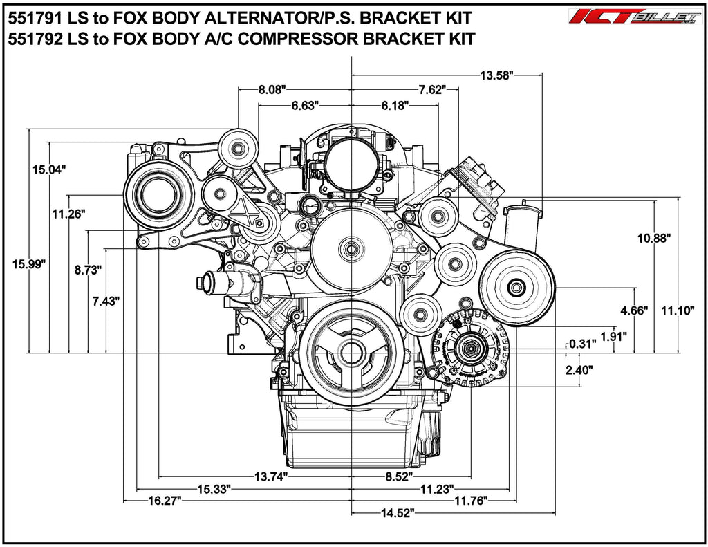 ICT Billet LS F Body Spacing LS1 OEM Fox Body A/C Compressor Bracket Kit