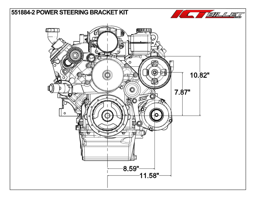 ICT Billet LS F Body Spacing LS1 GTO (2005-2006) Power Steering Pump Bracket Kit