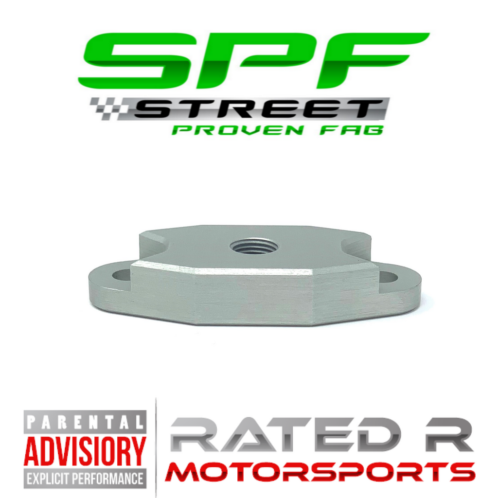 "Street Proven Fab LS Turbo Oil Feed Adapter Plate Single 1/8"" NPT Port NATURAL"