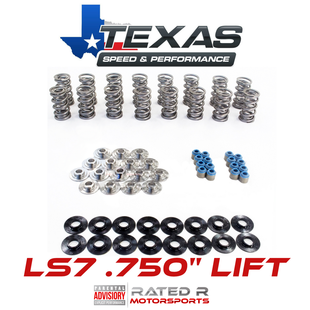 "Texas Speed LS7 PAC .750"" Lift Polished Dual Valve Spring Kit Titanium Retainers"