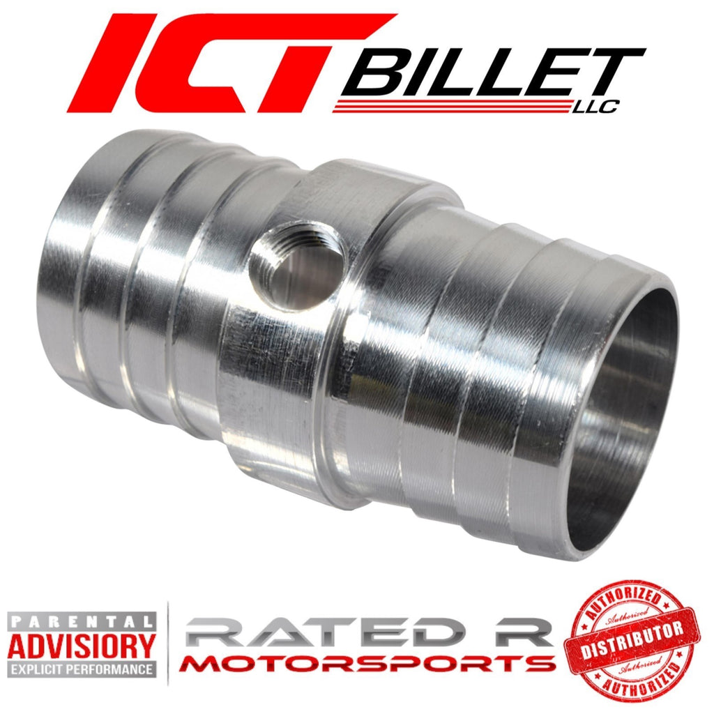 "ICT Billet 1-1/4"" Hose With 1/8"" NPT Steam Port Top Radiator Hose Adapter"