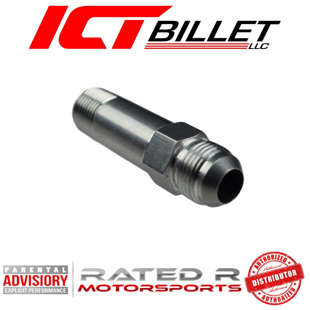 "ICT Billet Turbo Oil Drain Adapter Extension Fitting 10AN Flare 1/2"" NPT"