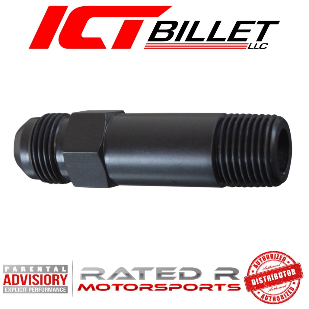 "ICT Billet Turbo Oil Drain Adapter Extension Fitting 10AN Flare 1/2"" NPT Black"