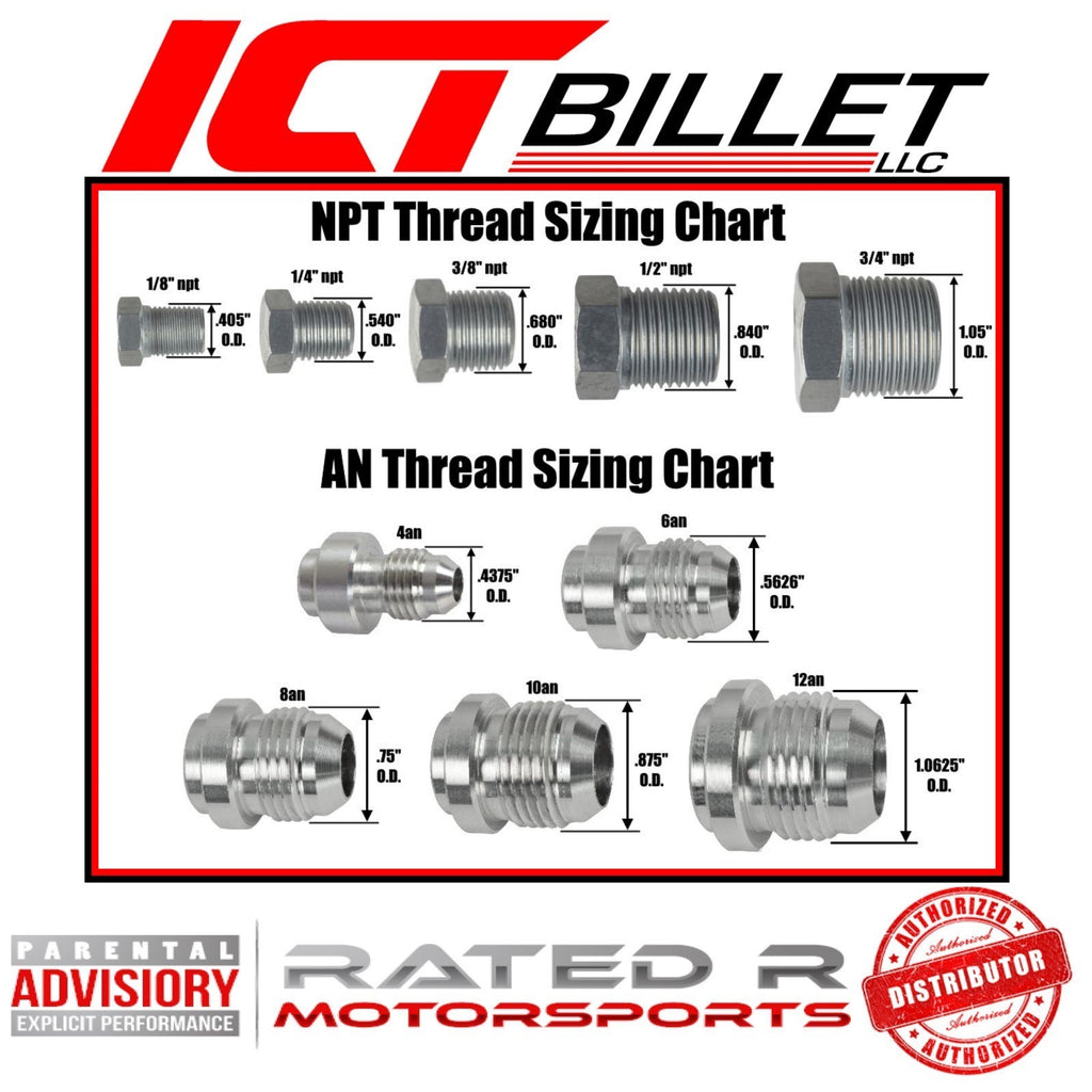 "ICT Billet SBC to LS Swap Coolant Temperature Sensor Adapter M12 1.5-1/2"" NPT"