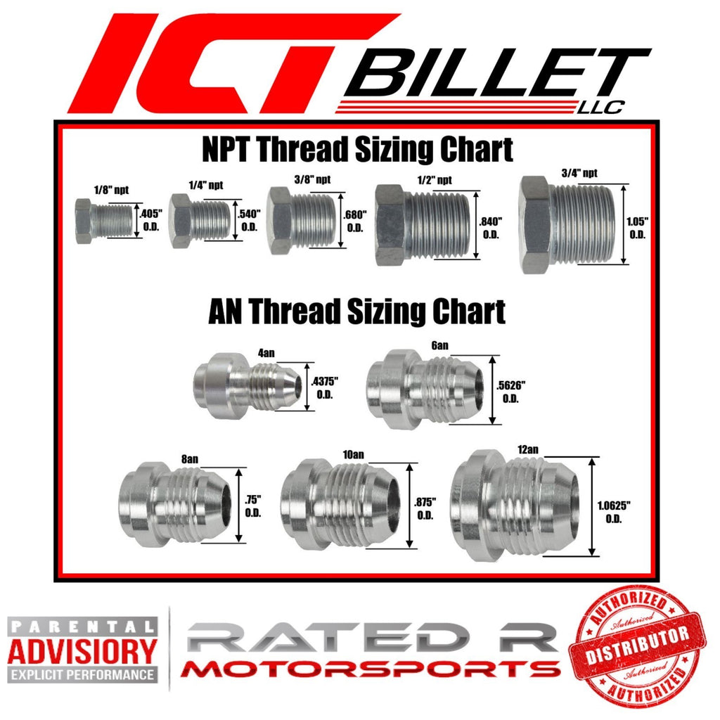 "ICT Billet Steel Braided Turbo Oil Feed Line -4AN Hose 90 Degree & Straight 60"" Inch"