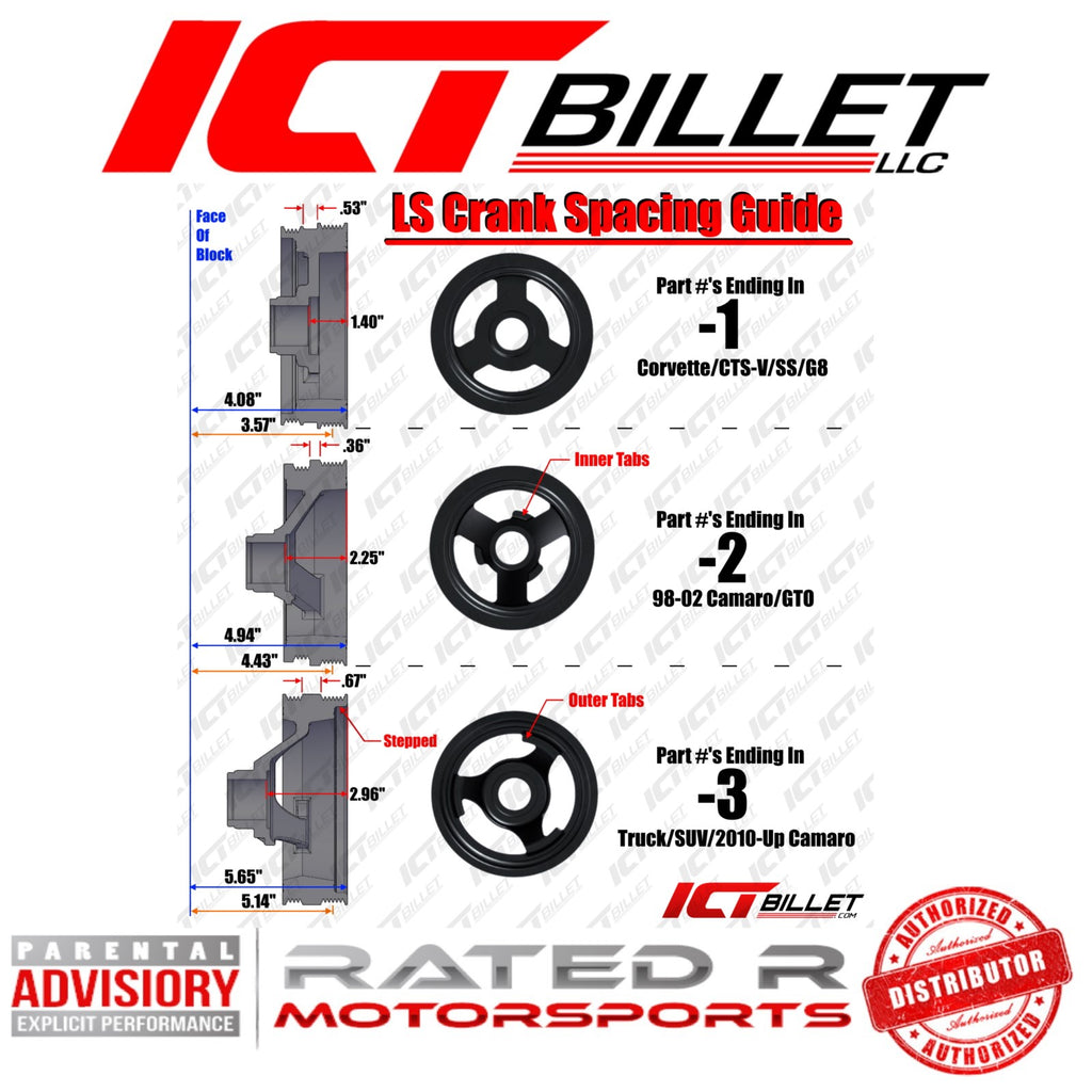 ICT Billet LS Truck Spacing Conversion 6 Rib Pulley / Clutch for LS Truck Compressor