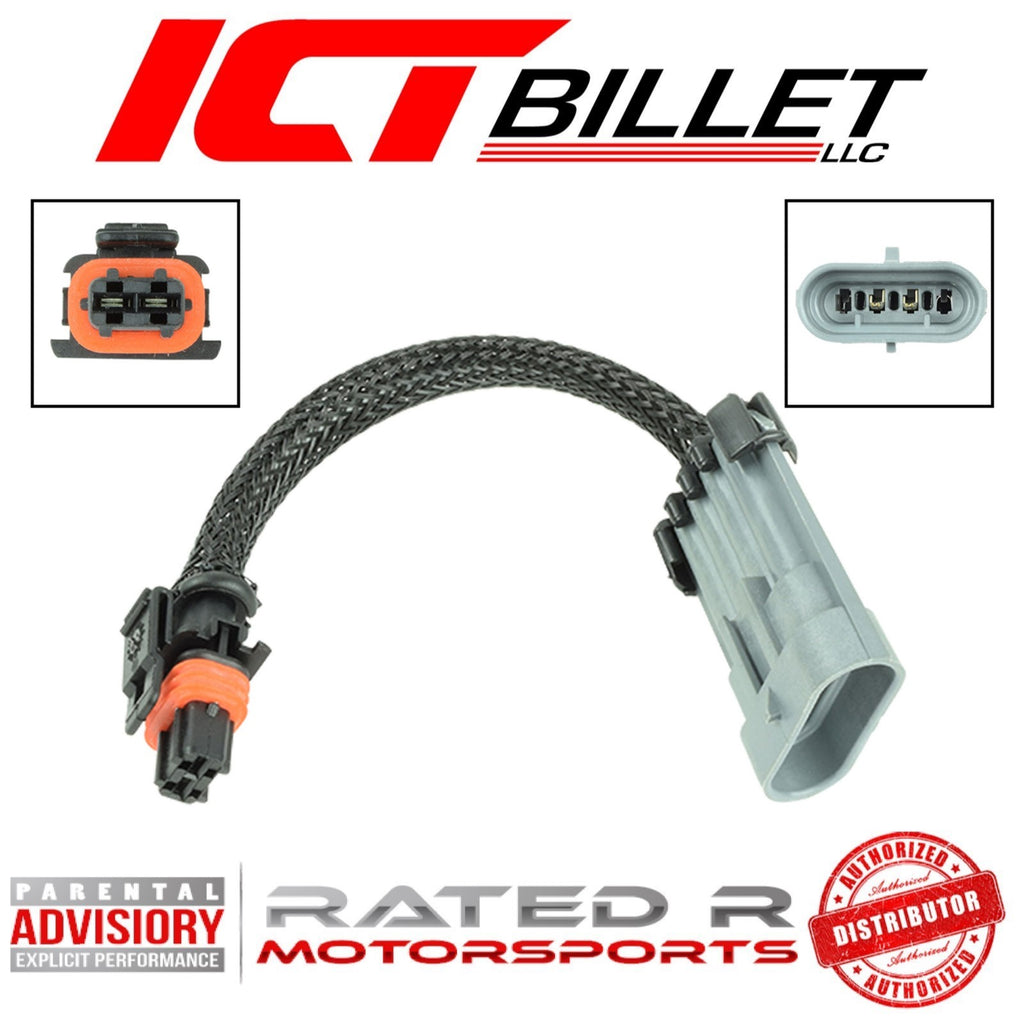 "ICT Billet LS Alternator 4-Pin Flat to 2-Pin Hi-Amp Wire Adapter 6"" Inch"