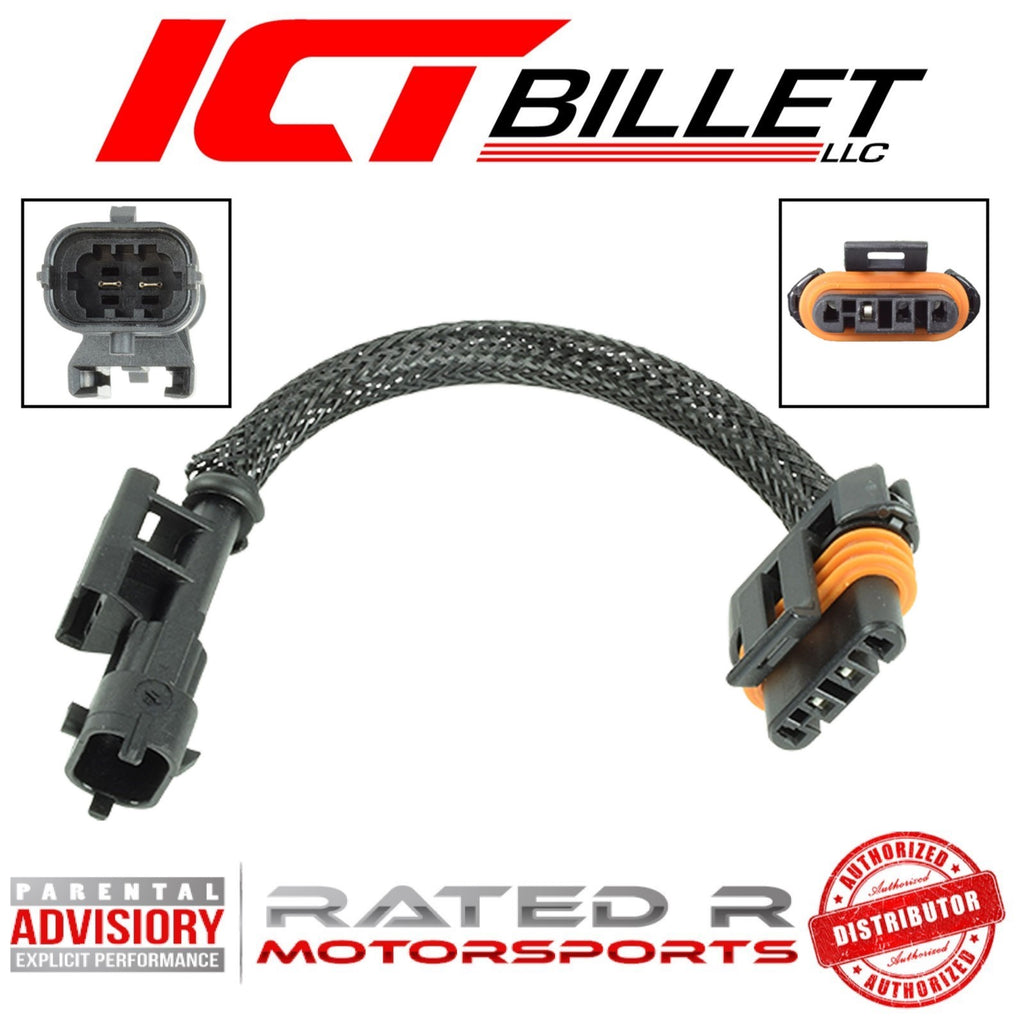 "ICT Billet LS Alternator 2-Pin Hi-Amp to 4-Pin Flat Wire Adapter 6"" Inch"