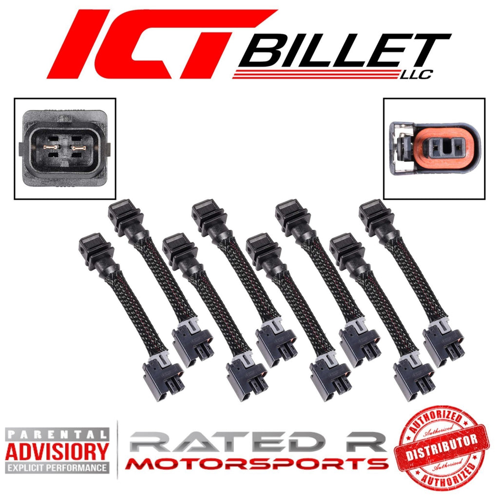 ICT Billet Wire Harness Adapter for Jetronic EV1 to Mini Delphi Multec 2 Fuel Injectors