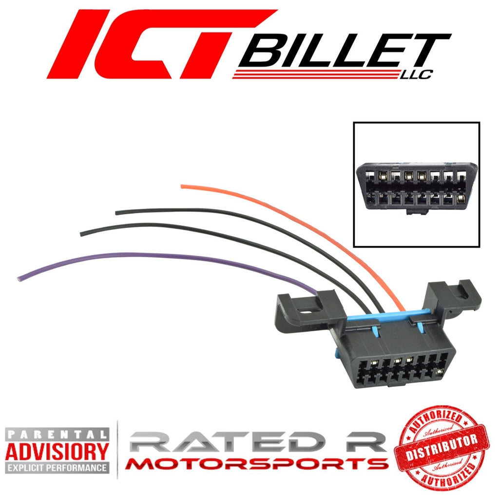 ICT Billet GM LS OBD2 Dash Diagnostic Port 4-Wire Harness Connector Plug Pigtail